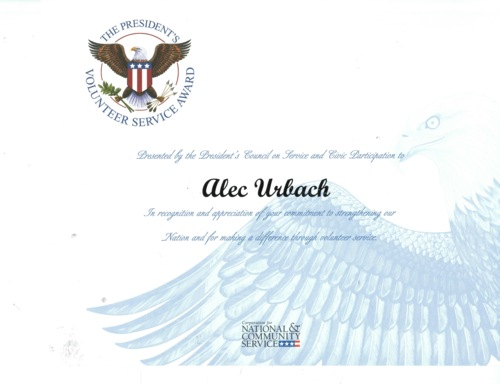 Alec Urbach The President's Volunteer Service Award