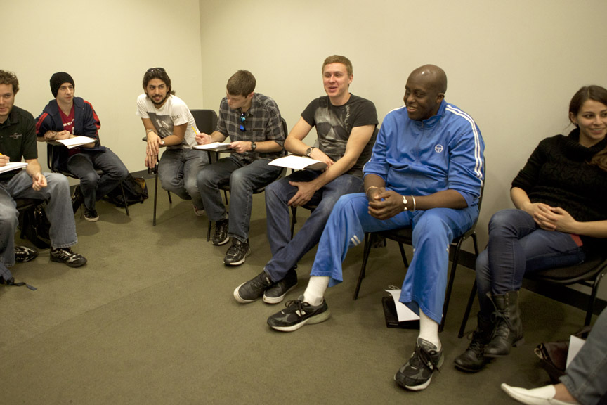 Bill Duke in a production meeting with New York Film Academy students