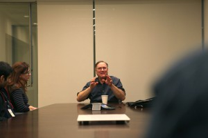 In the conference room with Erik Whitmyre, Co-Producer for NCIS: Los Angeles