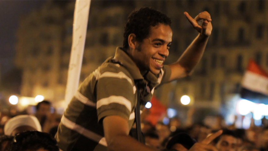 A scene from THE SQUARE, a feature documentary by Jehane Noujaim. Ahmed Hassan in Tahrir Square.