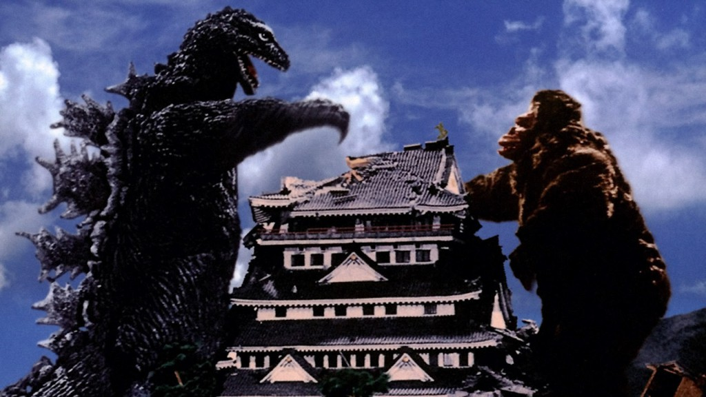 King Kong and Godzilla destroy building during battle