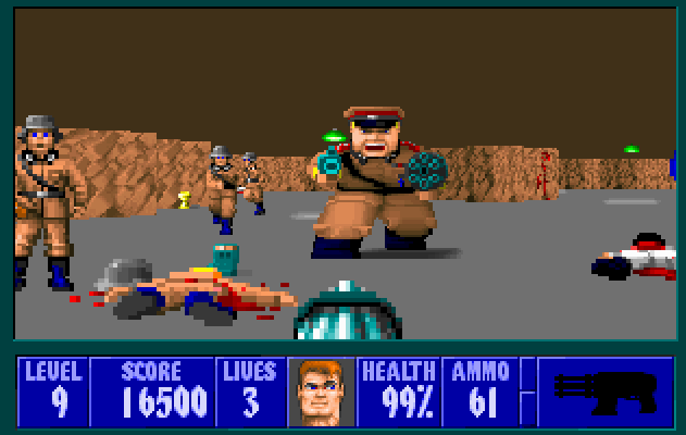 Facing off with a Nazi guard in Wolfenstein 3D