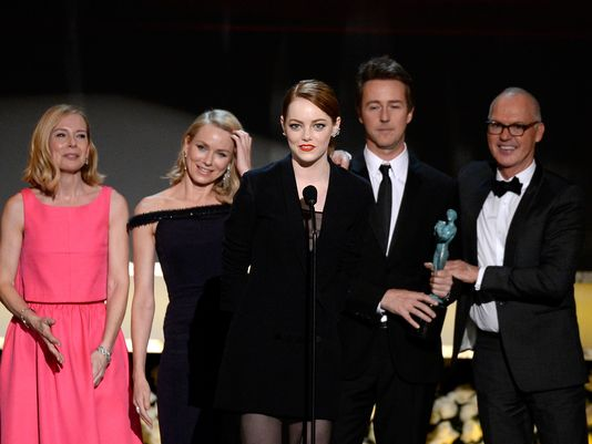 Birdman cast accepts ensemble award at SAG awards