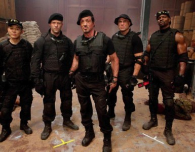 Sylvester Stallone on set of The Expendables