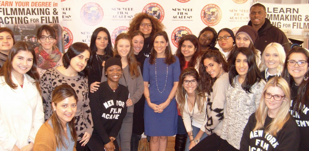 WNBC-TV reporter/anchor Lynda Baquero visited NYFA to meet with the Broadcast Journalism students