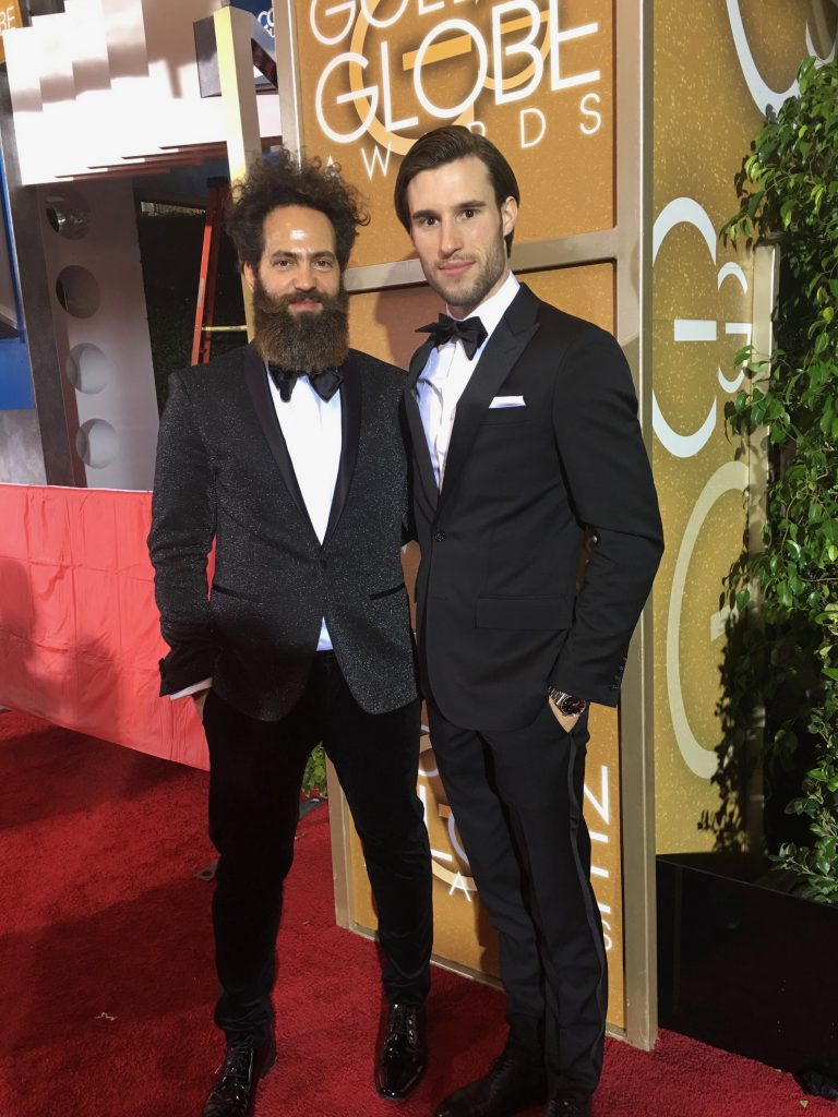 Jean (on the right) attending the Golden Globes