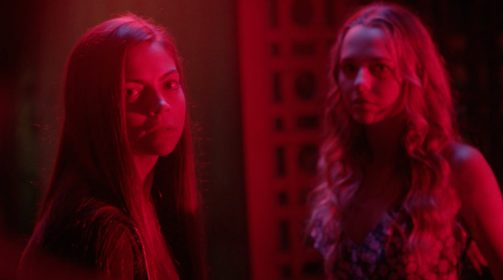 Still from the film of Rachel Richards (Caitlin Carver) and Rachel Nelson (Madison Iseman).