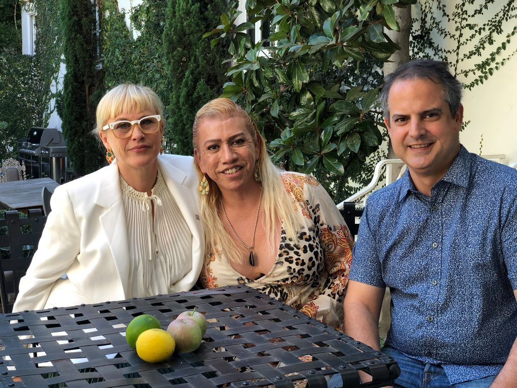 Patricia Arquette sites with trans rights activist Bamby Salcedo and documentary filmmaker Pedro Peira