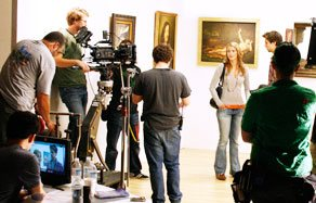 NYFA students filming at a museum as part of their class