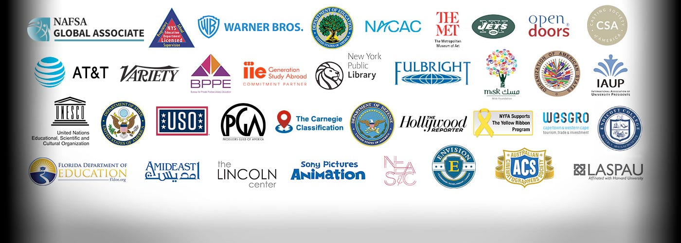 Logos of the many organizations affiliated with NYFA