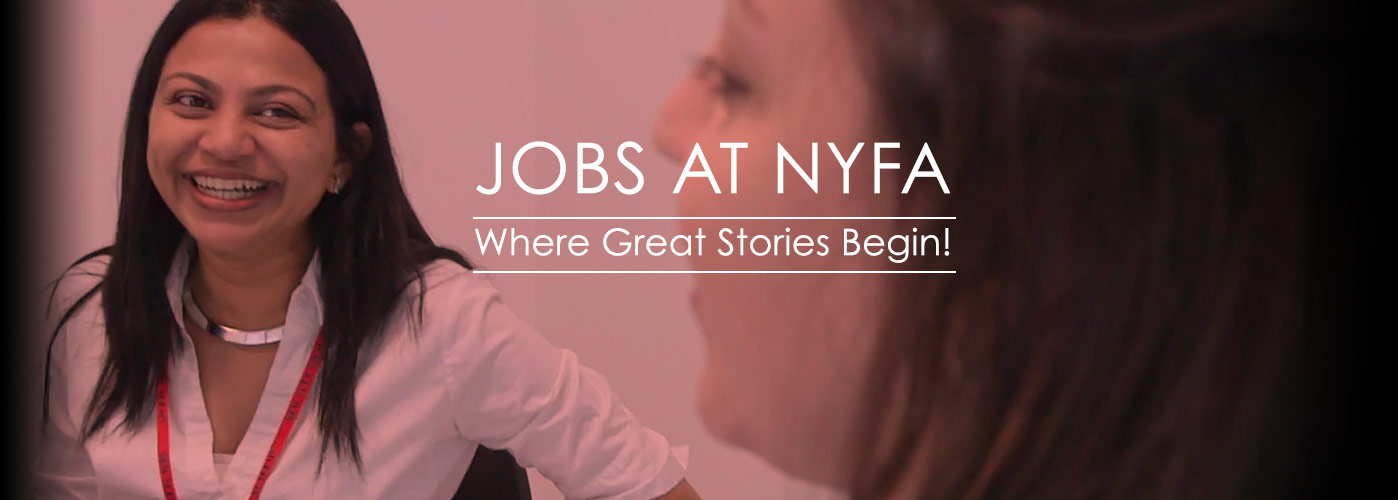 Jobs at NYFA banner shows an HR representative smiling during an interview.