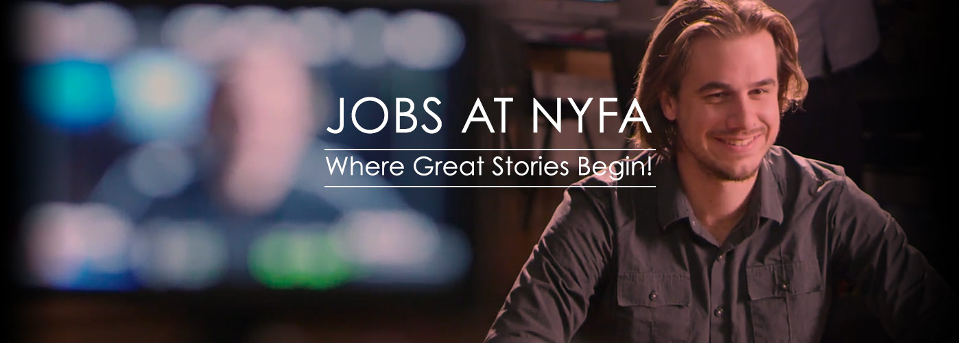 Jobs at NYFA: a faculty member with blonde hair and beard smiles, while his image is blurred on a monitor to the left.