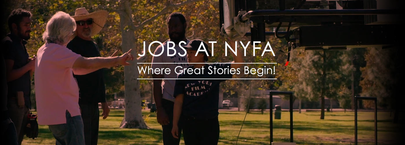 Jobs at NYFA: a group of NYFA faculty members and TAs discuss equipment for an outdoor shoot.