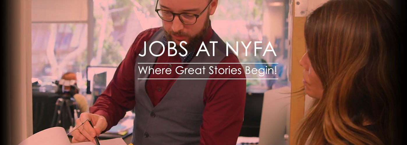 Jobs at NYFA: an instructor with a vest and glasses writes notes on a script.