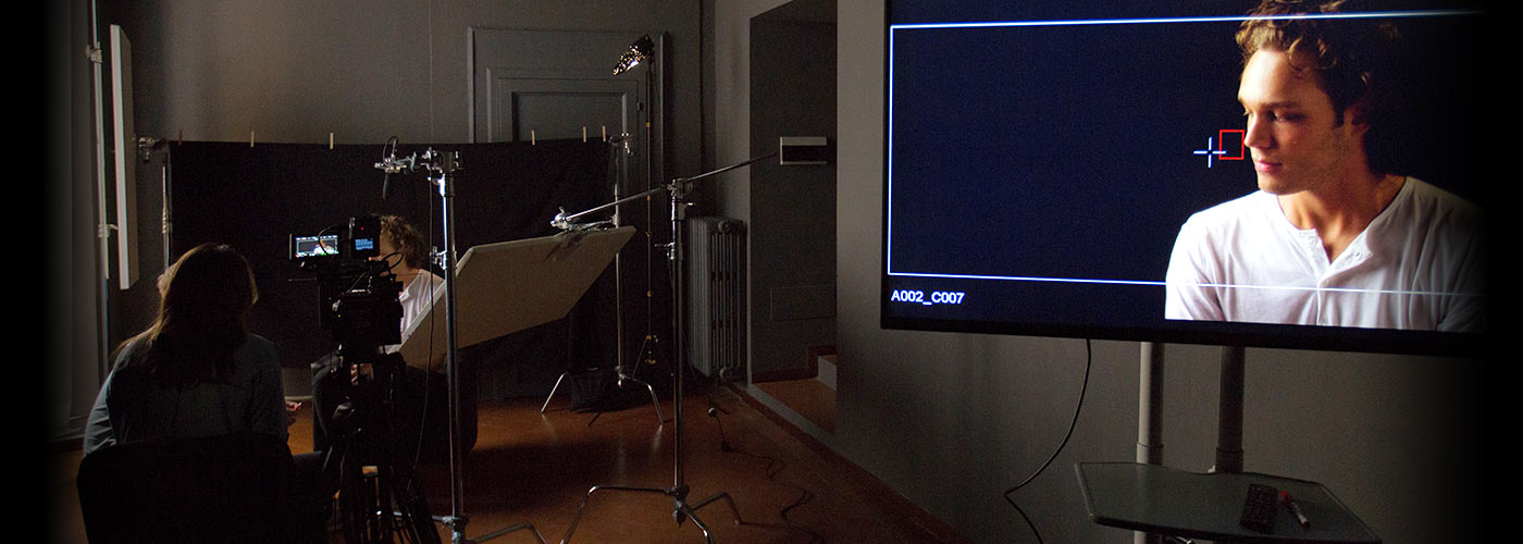 New York Film Academy acting student appears relaxed in his scene on a monitor image.