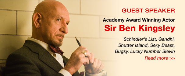 NYFA guest speaker Academy Award winning actor Sir Ben Kingsley