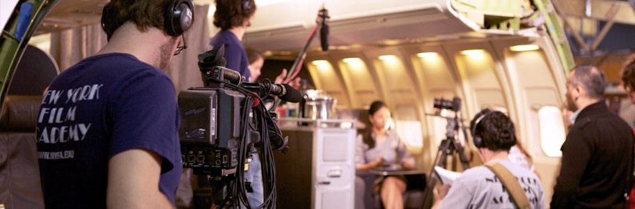 Students film on an airplane set