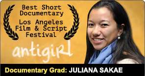 Documentary Grad Juliana Sakae won best short documentary for Antigirl