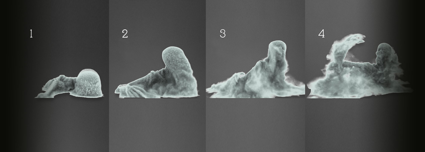 NYFA 3D Animation student work sequence of skeleton rising from clouds.