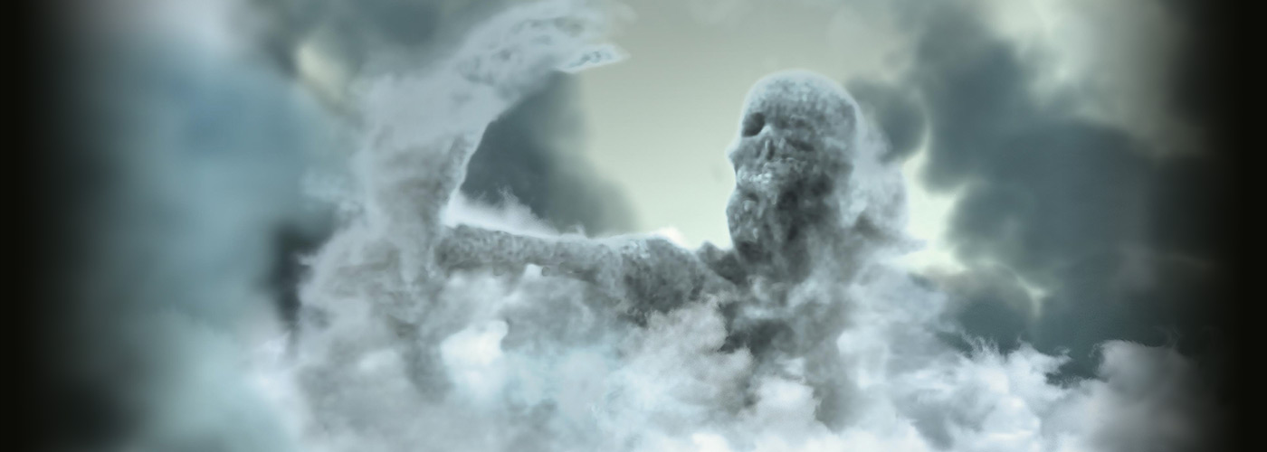 NYFA 3D Animation student work skeleton emerging from clouds.