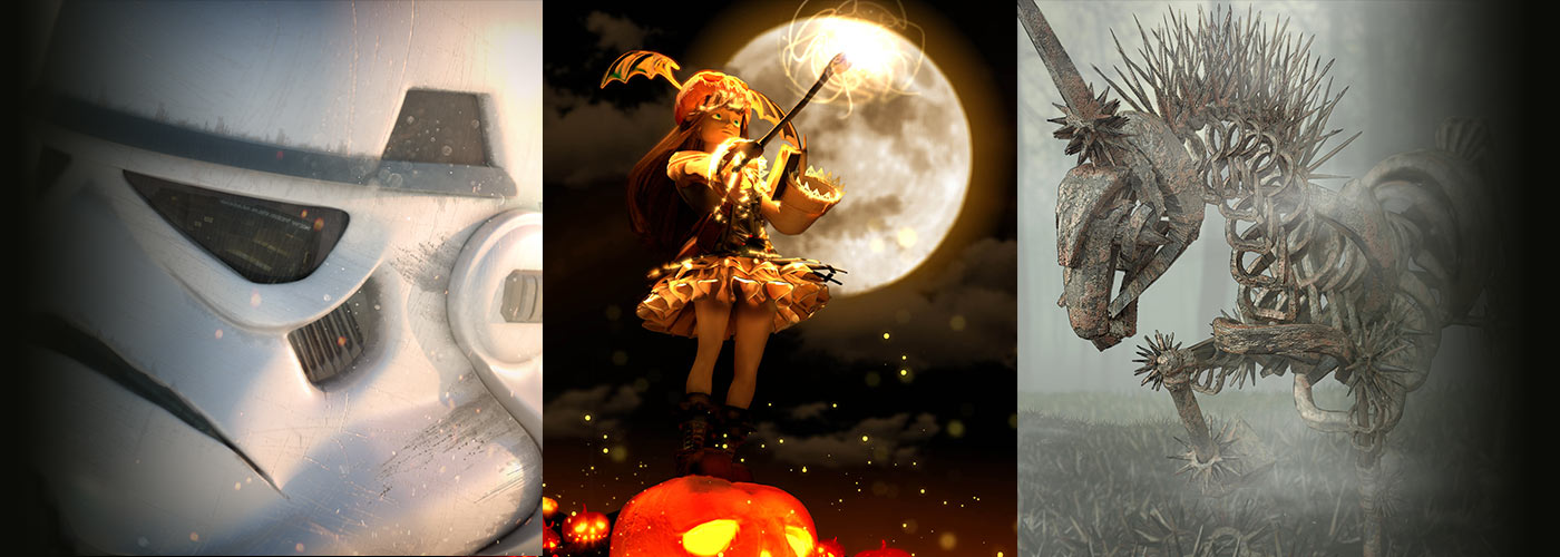 NYFA 3D Animation student work collage of storm trooper, pumpkin magician, and iron horse.
