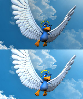 A 3D animated bird created in NYFA's BFA animation program