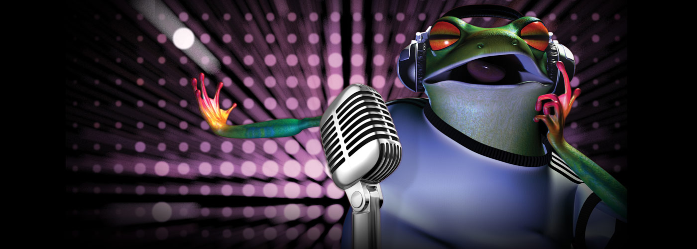 A 3D animated frog sings into a microphone