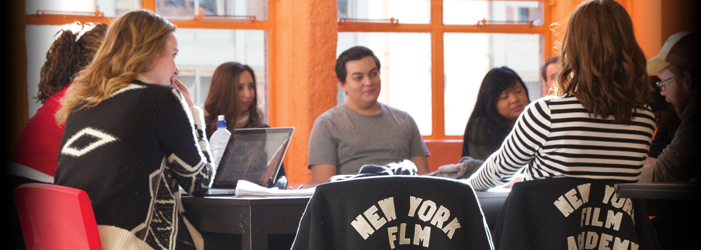 NYFA students studying together at a library