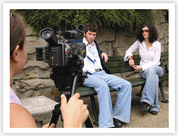 NYFA BFA acting students film a scene on a bench