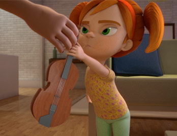 Still from NYFA 3D animation BFA student film showing an animated scene where a young girl with red pigtails taking a violin from an adult's hand.
