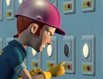 Still from NYFA 3D animation student film showing a frustrated animated man in hardhat and gloves working an industrial wall.
