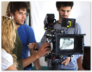 Three NYFA film school students film a scene