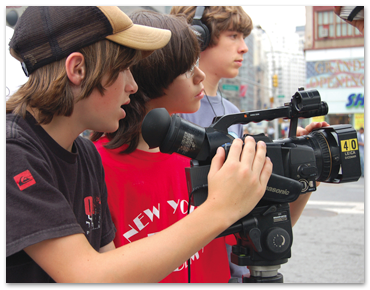 NYFA film camp students shooting a scene on location