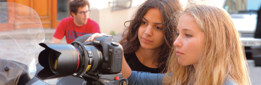 NYFA film camp students operate a digital camera