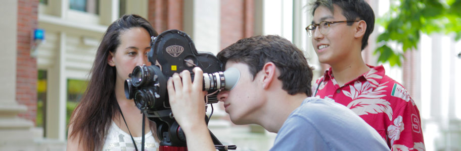 NYFA film camp student shoots with an Arriflex camera