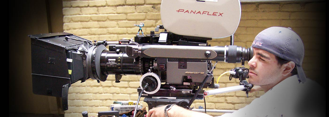 Cinematography school student filming with a Panaflex camera