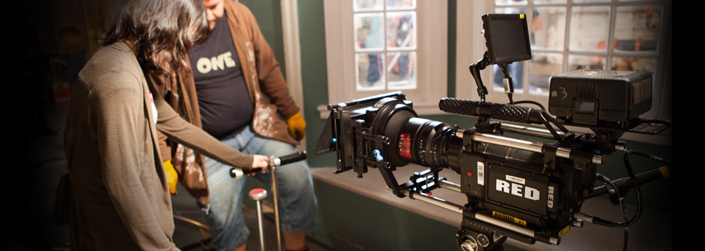 Cinematography school students using the Red One camera