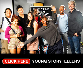 NYFA students pose as part of the Young Storytellers program