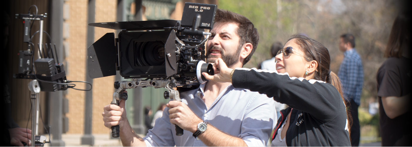 New York Film Academy students use a Red camera on set.