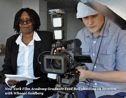 picture of a NYFA graduate fred boll shooting on location with whoopi goldberg