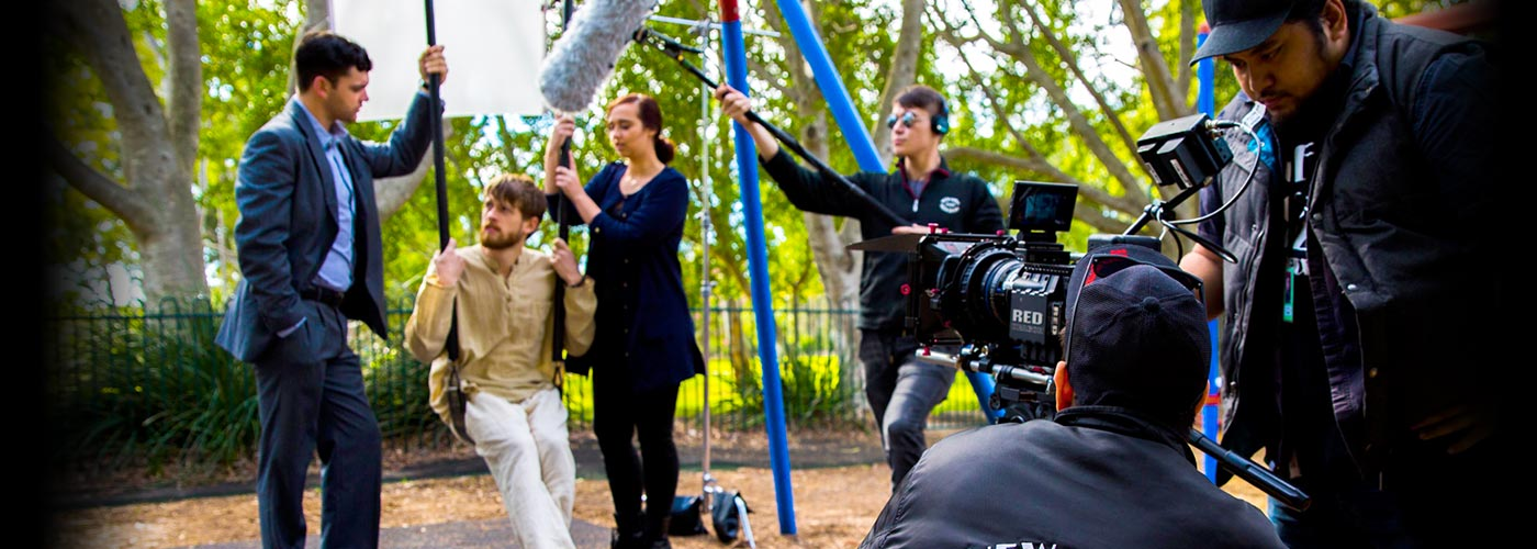 NYFA students shooting a scene in a park
