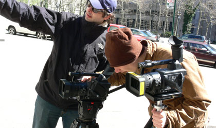 NYFA film school students filming outdoors