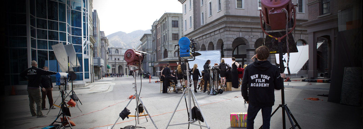 NYFA film school students filming on the Universal Studios backlot