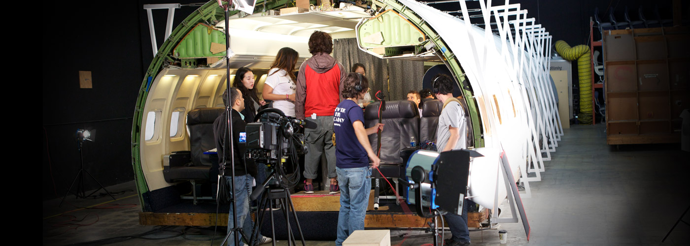 NYFA LA film school students shoot in an airplane set