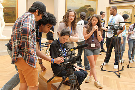 Students filming in the Metropolitan Museum of Art