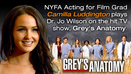 New York Film Academy Acting for Film Graduate Camilla Luddington plays Dr. Jo Wilson on the hit TV show, Grey's Anatomy.