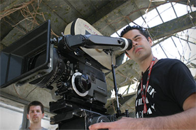 Student shoots a scene at NYFA film school