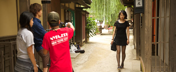 Students shoot a scene at NYFA in Kyoto