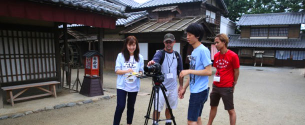 Students learn to operate a camera at NYFA in Kyoto