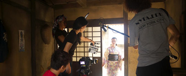 A student crew film an actress at NYFA in Kyoto